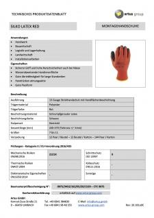 Artus Arbeitshandschuhe Montage-Strickhandschuh PU 13G Artus Silko red, 12er Pack, Schutzhandschuh, EN388:2016-2121X, Größe 10 / L - Vorschau 3