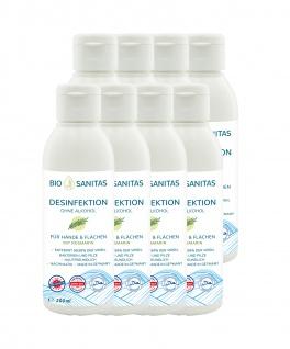 BIO SANITAS Desinfektion - Hände & Flächen To-Go 200 ml 8er Pack