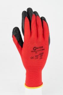 Artus Arbeitshandschuhe Montage-Strickhandschuh PU 13G Artus Silko red, 12er Pack, Schutzhandschuh, EN388:2016-2121X, Größe 9 / M