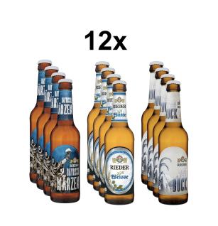 Rieder Bier BayernBox 12er Karton, 4x Rieder Weißbier, 4x Rieder Weißbier-Bock, 4x Bayrisch Märzen