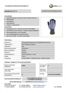 Artus Arbeitshandschuhe Montage-Strickhandschuh 18 Gauge, Schnitt-Strickhandschuh Artus Maximus Cut D, 12er Pack, Schutzhandschuh EN388:2016 - 4X42D, Größe 10 / L - Vorschau 3