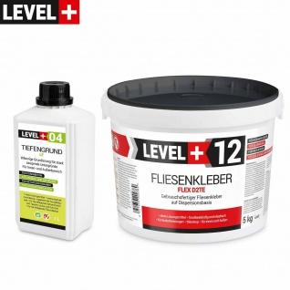 Set Fertig Fliesenkleber 5kg LEVEL+ Tiefengrund LF 1L Flexkleber Weiß SET205