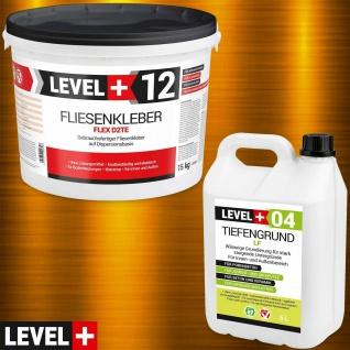 Fertig Flexkleber 15kg Steinkleber + Tiefgrund 5L Dispersionkleber Weiß SET207