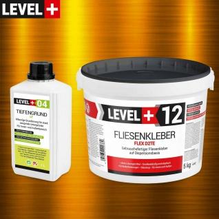 Fertig Fliesenkleber Set 5kg LEVEL+ Tiefengrund LF 1L Flexmörtel HQ SET205