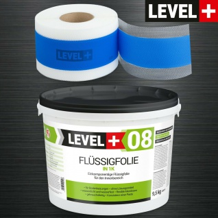 Dicht-Set Flüssigfolie 9, 5kg Dichtband 10M Bad Dusche Abdichtung LEVEL+ SET308