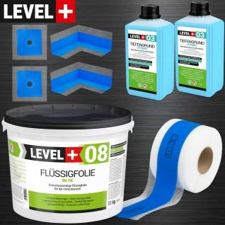 Dichtset für Badabdichtung 12kg Flüssigfolie Dusche Dichtband LEVEL PLUS SET329