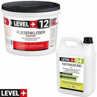 Fertig Flexkleber 15kg + Tiefengrund 5L Dispersionkleber Weiß Steinkleber SET207