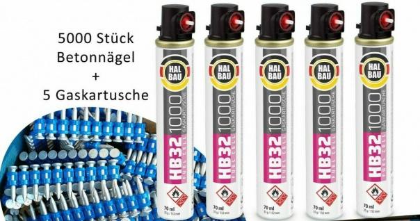 Gaspatrone HB32 5 Stück für PULSA 1000 + Betonnägel HB42_25 L:25mm 5000 Stück