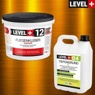 Set Fertig Flexkleber 10kg + Tiefengrund 5 L Flexkleber Weiß Flexmörtel SET206