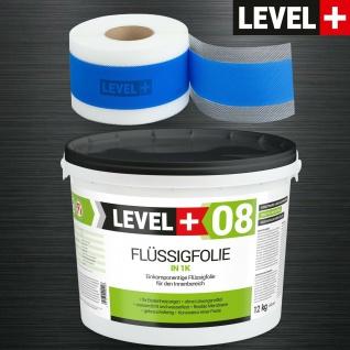 Dichtset Level+ Flüssigfolie 12kg, 15M Dichtband Bad Abdichtung Dusche SET309
