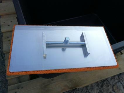 Deckenreibebrett 20x40cm mit 120cm langem Stiel mit rotem Schwammgummibelag 18mm
