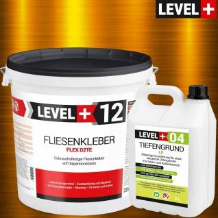 Fertig-Fliesenkber 20kg + Tiefengrund 5 L Flexnatursteinkleber LEVEL+ SET208