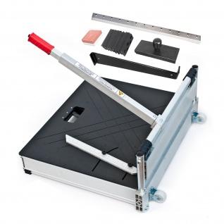 BAUTEC Laminatschneider Modell PLC 460H mit 2 Klingen aus gehärtetem Stahl inkl. Verlegeset und Teleskopbügel | 480 mm Schnittbreite | 16 mm Stärke