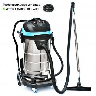 BAUTEC 100 Liter Industriesauger inkl. 5 Meter Saugschlauch| pmax 3.400 W | Nasssauger | Trockensauger