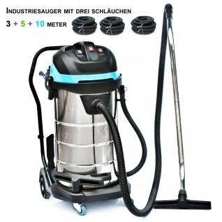 BAUTEC 100 Liter Industriesauger mit 3 Saugschläuchen| pmax 3.400 W | Nasssauger | Trockensauger