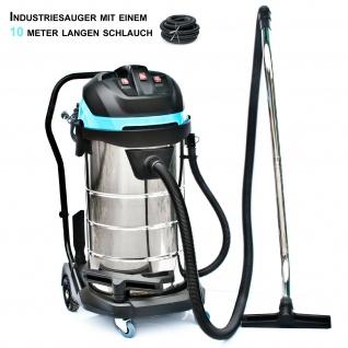 BAUTEC 100 Liter Industriesauger inkl. 10 Meter Saugschlauch| pmax 3.400 W | Nasssauger | Trockensauger