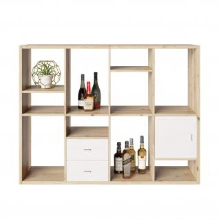 Fortuna - SET Regal mit 12 Fächern inkl. Tür-/Schubladeneinsatz, Bücherregal, Büroregal, Raumteiler, Fächer in asymmetrischer Aufteilung