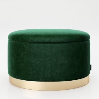 """PLAYBOY - ovaler Pouf """" ROSANNE"""" gepolsterter Sitzhocker mit Stauraum, Samtstoff in Grün, goldener Metallfuss, Retro-Design"""