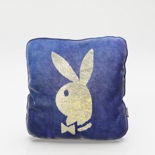 """PLAYBOY - Dekokissen """" ELLEN"""" mit Samtüberzug in Blau und gold/weissen Wendepailletten, mit Bunny, inkl Füllung"""