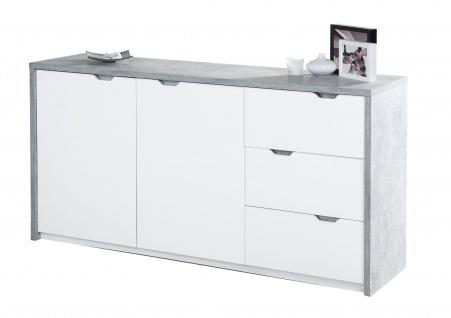 Bruno - Sideboard mit 2 Türen mit Soft-Close und 3 Schubladen mit Vollauszug, Beton Optik mit weissen Fronten