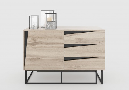 Carv - Kommode mit 3 Schubladen und 1 Tür, Push-Open-Beschläge, Wild Oak Holzdecor, Metallsockel, modernes Industrial-Design