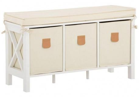 Country - Sitzbank mit bequemen, abnehmbaren Sitzkissen und 3 Stoffboxen, romantischer Landhausstil, in verschiedenen Farben
