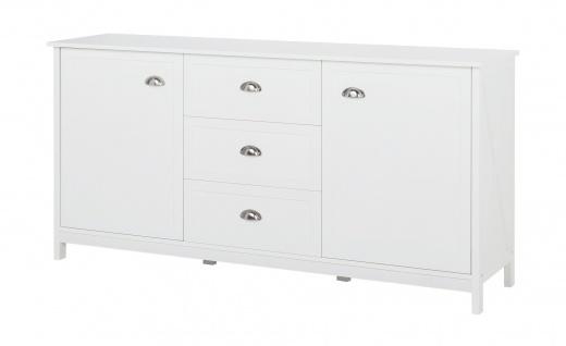Country - Sideboard, Kommode, Buffet mit 2 Türen und 3 Schubladen, weiss lackiert, Metallgriffe, romantischer Landhausstil