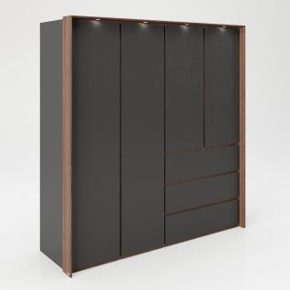 """PLAYBOY - Kleiderschrank """" VICTORIA"""" mit 4 Türen und 3 Schubladen, sanft-schliessend, inkl Kleiderstange, Einlegeböden und LED-Beleuchtung, Walnuss-Dekor/Grau, Retro-Design"""