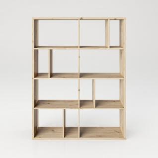 Fortuna - Bücherregal, Büroregal, Raumteiler mit 12 Fächern, asymmetrische Aufteilung