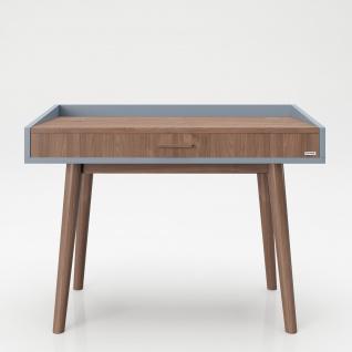 """PLAYBOY - Schreibtisch/Schminktisch """" HENRIETTE"""" mit Klappe und integriertem Spiegel, sanft schliessend, Walnuss/Grau, Retro-Design"""