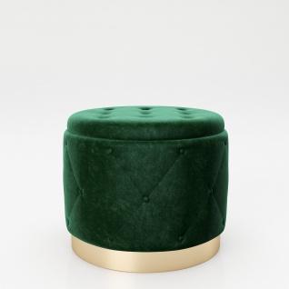 """PLAYBOY - Pouf """" LIZ"""" gepolsterter Sitzhocker mit Stauraum, Samtstoff in Grün und Chesterfield-Optik, goldener Metallfuss, Retro-Design"""