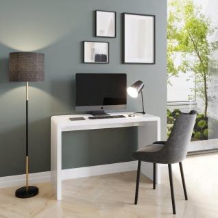 Prana - moderner Schreibtisch, Schminktisch, Bastelltisch, abgerundete Kanten, weiss hochglanz