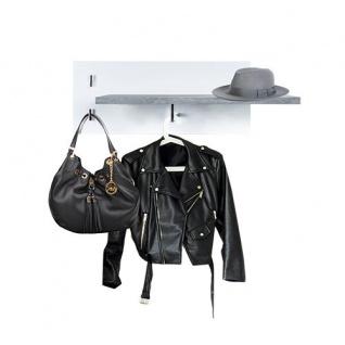 Bruno - Wandgarderobe mit 1 Kleiderstange, 2 Kleiderhaken und 1 praktischen Ablage, Beton Optik mit weisser Rückwand