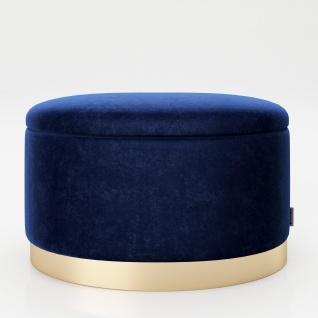 """PLAYBOY - ovaler Pouf """" ROSANNE"""" gepolsterter Sitzhocker mit Stauraum, Samtstoff in Blau, goldener Metallfuss, Retro-Design"""