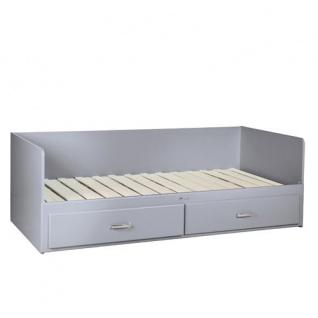 Miami Tagesbett mit 2 Schubladen, ausziehbar 90-180x200, Autometallic Lackierung, chromfarbene Griffe, Füsse und Logo aus hochwertigem Autoschriftzug, in grau