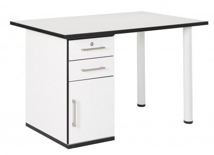 Chicago - höhenverstellbarer Schreibtischfuss aus Metall, 2er Set, weiss eloxiert mit schwarzem Kunststoffgewinde - Vorschau 3