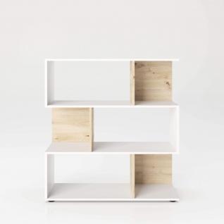 Shelfy - Bücherregal, Büroregal, Raumteiler mit 6 Fächern, asymmetrische Aufteilung