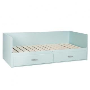 Miami Tagesbett mit 2 Schubladen, ausziehbar 90-180x200, Autometallic Lackierung, chromfarbene Griffe, Füsse und Logo aus hochwertigem Autoschriftzug, in mint