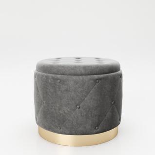 """PLAYBOY - Pouf """" LIZ"""" gepolsterter Sitzhocker mit Stauraum, Samtstoff in Grau und Chesterfield-Optik, goldener Metallfuss, Retro-Design"""