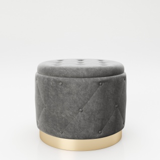 """PLAYBOY - Pouf """" LIZ"""" gepolsterter Sitzhocker mit Stauraum, Samtstoff in Grau und Chesterfield-Optik, Metallfuss in Goldoptik, Retro-Design"""