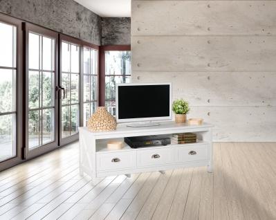 Country - Lowboard, TV Möbel, Mediamöbel mit 1 breiten Ablage und 3 Schubladen, weiss lackiert, Metallgriffe, romantischer Landhausstil - Vorschau 2