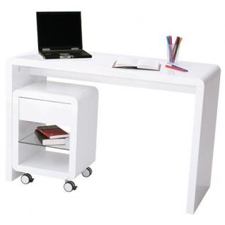 Prana - moderner Schreibtisch, Schminktisch, Bastelltisch, abgerundete Kanten, weiss hochglanz - Vorschau 5