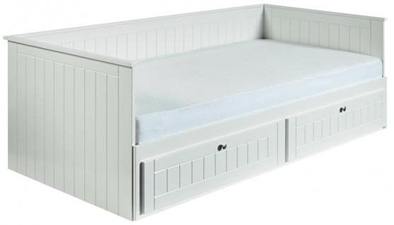 Florenz -ausziehbares Tagesbett mit 2 Schubladen, gefräste Fronten, weiss