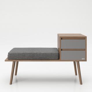 """PLAYBOY - Sitzbank """" MONIQUE"""" mit 2 Schubladen und Sitzkissen, Walnuss-Dekor, Retro-Design"""