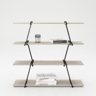 Babylon - Regal, Raumteiler, Bücherregal mit 4 Böden, Wild Eiche kombiniert mit schwarz matten Metallkomponenten, modernes Industrial Design