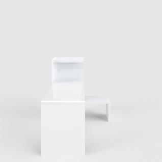 Prana - Schreibtisch-Lowboard-Kombi, Eckschreibtisch, Ecklösung, abgerundete Kanten, weiss hochglanz - Vorschau 2