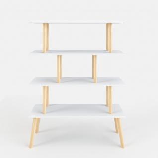Scandi - Regal, Raumteiler, Bücherregal mit 4 weissen Böden, Massivholzfüsse, Scandi-Style