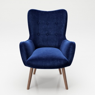 """PLAYBOY - Sessel """" BRIDGET"""" gepolsterter Lehnensessel, Samtstoff in Blau mit Massivholzfüssen, Retro-Design"""