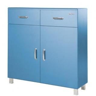 Miami Schuhschrank mit 2 Türen und 2 Schubladen und Soft-Close Beschlägen, Autometallic Lackierung, chromfarbene Griffe, Füsse und Logo aus hochwertigem Autoschriftzug, in blau