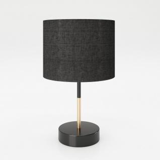 """PLAYBOY - Tischlampe """" ALESHA"""", Nachttischlampe, Schreibtischlampe mit schwarzem Stoff-Lampenschirm, schwarz/gold, Retro-Design"""